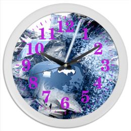 """Часы круглые из пластика """"Яблочный микс"""" - фрукты, напиток, абстракция, яблоко, натюрморт"""