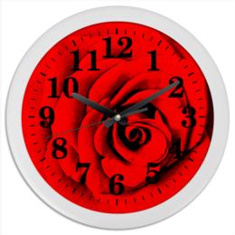 """Часы круглые из пластика """"Красная роза """" - цветы, роза, красная роза"""