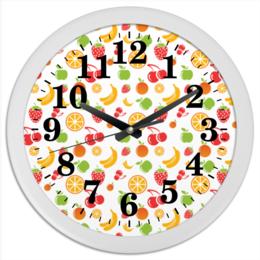"""Часы круглые из пластика """"Фруктовые"""" - апельсин, клубника, вишня, яблоко, банан"""