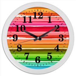 """Часы круглые из пластика """"Радуга"""" - узор, радуга, рисунок, полосатый, красочный"""
