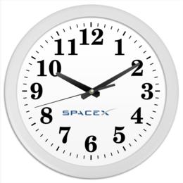 "Часы круглые из пластика ""SpaceX"" - звезды, космос, вселенная"