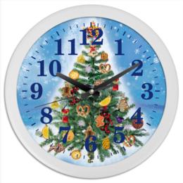 """Часы круглые из пластика """"Новогодняя елка"""" - праздник, новый год, елка, новогодняя елка"""