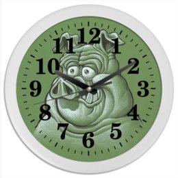 """Часы круглые из пластика """"Символ 2019 года"""" - свинка, свинья, хрюшка, поросёнок, хряк"""