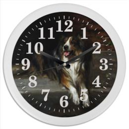 """Часы круглые из пластика """"Колли (картина Артура Вардля)"""" - картина, собака, живопись, артур вардль, колли"""