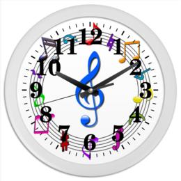 "Часы круглые из пластика ""Музыкальные часы"" - музыка, арт, ноты, скрипичный ключ, ключи"