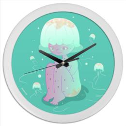 """Часы круглые из пластика """"Медузка"""" - природа, вода, животное, медуза"""