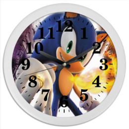 "Часы круглые из пластика ""соник"" - соник, sonic, sega"