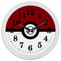 """Часы круглые из пластика """"Покебол. Покемоны"""" - покемон, покемоны, покебол, pokemon go, pokeball"""