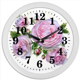 """Часы круглые из пластика """"Божественный аромат"""" - цветы, розовый, акварель, розы, пышные розы"""