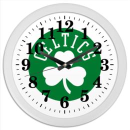 "Часы круглые из пластика ""Селтикс green"" - баскетбол, nba, boston, celtics, нба"