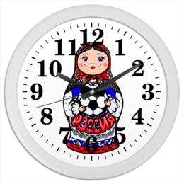 """Часы круглые из пластика """"Матрешка с мячом"""" - матрёшка, футбольный мяч, символ россии, российский футбол, подарок фанату футбола"""