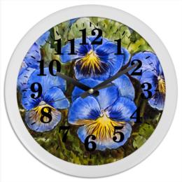 """Часы круглые из пластика """""""" Анютины глазки """""""" - цветы, анютины глазки, рисунок"""