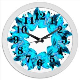 """Часы круглые из пластика """"Голубая лазурь"""" - цветы, часы, букет, венок, голубые цветы"""