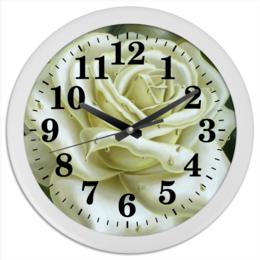 """Часы круглые из пластика """"Белая роза"""" - арт, цветы, роза, в подарок, девушке"""