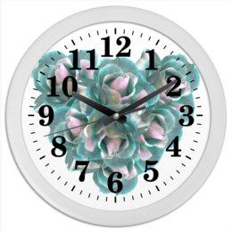 """Часы круглые из пластика """"Ледяные розы"""" - сердце, цветы, часы, розы, букет"""