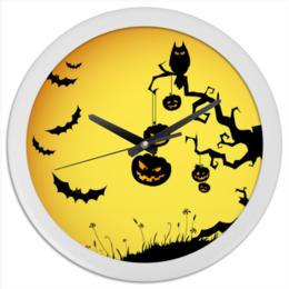 "Часы круглые из пластика ""Halloween"" - хэллоуин, праздники"