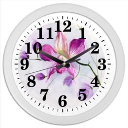 """Часы круглые из пластика """"Розовая орхидея"""" - цветы, весна, розовый, акварель, орхидея"""
