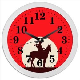 """Часы круглые из пластика """"Ковбой"""" - кино, ковбой, дикий запад, вестерн"""