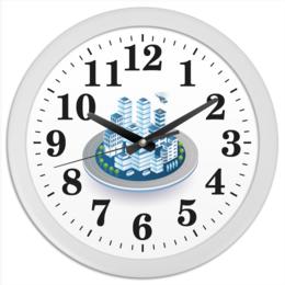 """Часы круглые из пластика """"Город"""" - в подарок, оригинально"""