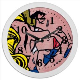 "Часы круглые из пластика ""art girl"" - арт, девушка, комиксы, мужчна"