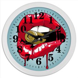 """Часы круглые из пластика """"Пуля во рту"""" - губы, рот, зубы, пуля, bullet"""