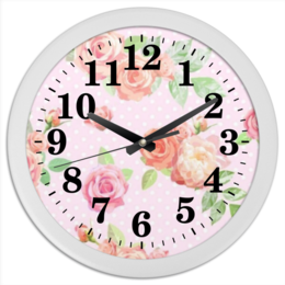 """Часы круглые из пластика """"flowers"""" - цветы, flower"""
