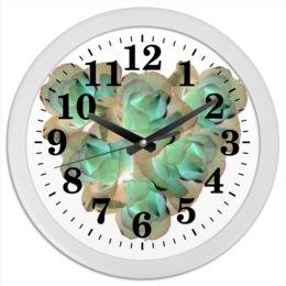 """Часы круглые из пластика """"Холодное сердце"""" - сердце, цветы, часы, розы, букет"""