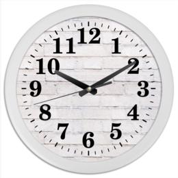"Часы круглые из пластика ""Кирпичные"" - узор, рисунок, стена, камень, кирпич"