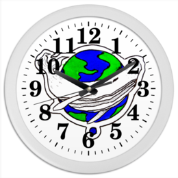 "Часы круглые из пластика ""китПланета"" - планета, дизайн, кит"
