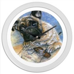 """Часы круглые из пластика """"Мопс - хранитель писем"""" - животные, собаки, письма, мопс, любителям мопсов"""