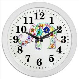 """Часы круглые из пластика """"Слоник"""" - счастье, яркий, слоник"""