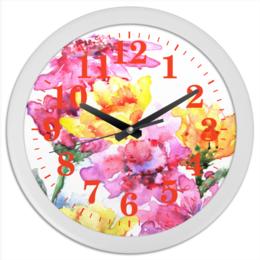 """Часы круглые из пластика """"Хризантемы"""" - цветы, картина, природа, нежность, акварелью"""