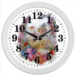 """Часы круглые из пластика """"Летняя прогулка"""" - лето, цветы, позитив, велосипед"""