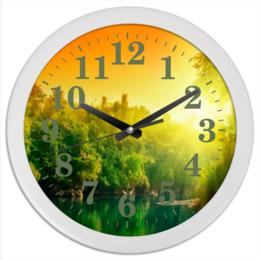 "Часы круглые из пластика ""утро на речке"" - лето, утро, природа, река, речка"