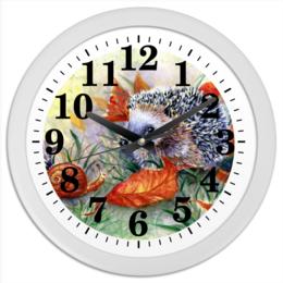 """Часы круглые из пластика """"Разговор"""" - осень, лес, ежик, улитка, акварель"""