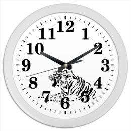"""Часы круглые из пластика """"Силуэт Бенгальского тигра. """" - силуэт, хищник, тигр, животное, бенгальский"""