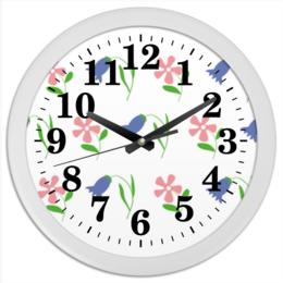 """Часы круглые из пластика """"цветы полевые"""" - узор, купить, с цветком"""
