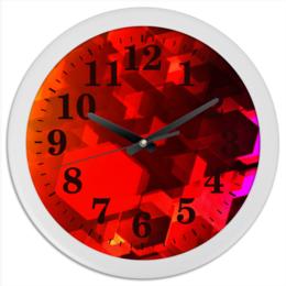 """Часы круглые из пластика """"Шестиугольники"""" - узор, оригинальный, цветной, геометрический, многоугольники"""