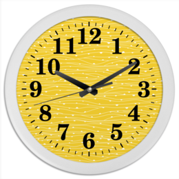 """Часы круглые из пластика """"Жёлтое поле"""" - полосы, сеть, роса"""
