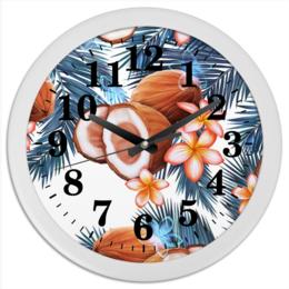 """Часы круглые из пластика """"Кокосы"""" - фрукты, рисунок, тропики, кокосы"""