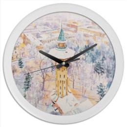 """Часы круглые из пластика """"Сказки снега"""" - питер, рождество, старый город, снег, новый год"""