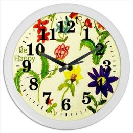 """Часы круглые из пластика """"Цветы тропиков"""" - цветы, тропики, листья, лето, яркое"""
