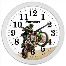 """Часы круглые из пластика """"#nstuntz"""" - мотоцикл, nstuntz, трюковое мотошоу, алексей плотников"""