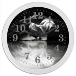 """Часы круглые из пластика """"Пасть дракона"""" - фото, искусство, чернобелое, дым, кальян"""