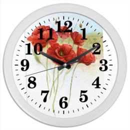 """Часы круглые из пластика """"Маки полевые"""" - лето, цветы, природа, акварель, маки"""