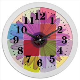 """Часы круглые из пластика """"Гербера"""" - цветы, узор, рисунок, ромашка, цветочный"""