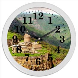"""Часы круглые из пластика """"Часы Армения монастырский комплекс Татев"""""""