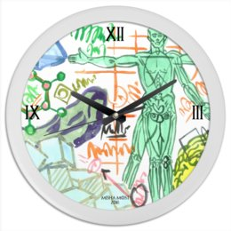 """Часы круглые из пластика """"Time."""" - человек, будущее"""