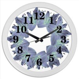 """Часы круглые из пластика """"Пастельный синий"""" - цветы, часы, букет, декор, венок"""