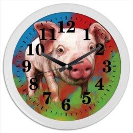 """Часы круглые из пластика """"Симпатичный поросёнок"""" - свинка, свинья, хрюшка, поросёнок, хряк"""